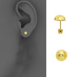 14k Yellow 4mm Half Ball Stud Earrings - Screw